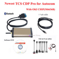 Cheap 2014R2 TCS CDP Pro OKI Chip with keygen for  Bluetooth OBD2 Diagnostic tool For Cars   Trucks + Full set 8 Car cables