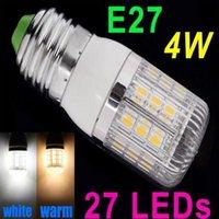 Wholesale New V E27 W SMD5050 LED Corn Light Bulb Lamp with Cover White Warm white degree Spot light