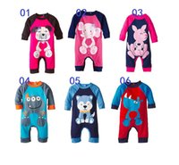 6 colores los niños de los mamelucos del mono de animales impresa Bodies ropa de algodón bebé mameluco de la historieta del mameluco del traje traje de navidad