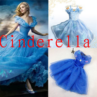 lace dress - 2015 In Stock Cinderella Kids Dress Girls Cinderella Butterfly Dress Blue Princess Girl Party Dresses Cinderella Lace dress Cosplay Costume