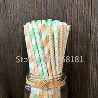 baby shower straws - 200pcs Mixed Designs Peach Mint Green Paper Straws Striped Chevron Swiss Dot Baby Boy Shower Birthday Decor Cake Pop Sticks