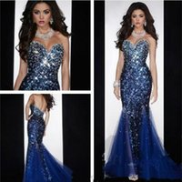 chocolate diamonds - Sexy Mermaid Sweetheart Open Back Crystals Beaded Sequined Diamond Organza Prom Gown Evening Dresses