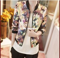 Wholesale Drop shipping New PC women spring jacket Floral Printed Long Sleeve Zipper Stand Collar Bomber cortavientos mujer Jecksion