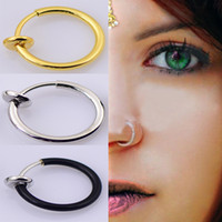 Wholesale 40pcs New Clip On Fake Nose Hoop Ring Ear Septum Lip Navel Earrings Body Non Piercing Black Jewelry Drop Shipping Christmas