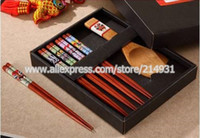 bamboo wooden spoons - Pair Wooden Japanese Chopsticks Gift Set Included Bamboo Rice Spoon for Serving Sushi Peking Opera Mask Pattern Wedding Favors