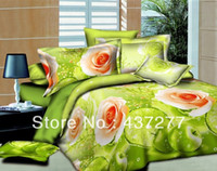 apple green comforter - unique bed bedding set flower blossom green apple fruit oil painting polyester duvet cover sheet pillowcase comforter sets full