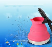 Wholesale 1500ml Pink Heat Proof Portable Collapsible Silicon Kettle Stainless Bottle With Grip