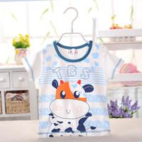 bamboo baby t shirts - Summer cotton baby cartoon Bull Printing bamboo fiber short sleeved Boy T shirt shoulder buckle years old baby top