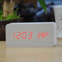 Wholesale for HOT wooden LED Alarm Clock despertadorHOT Temperature Sounds Control LED display electronic desktop Digital table clocks
