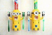 Wholesale 2015 New Cute Despicable Me Minions Design Set Cartoon Toothbrush Holder Automatic Toothpaste Dispenser with Brush Cup with retail box