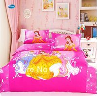 Cheap girls beauty princess pink cotton bedding sets for twin full queen size 450TC reversible woven bedspread bed linen comforter set