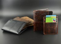 Wholesale Brand new Mens High Quality Leather Wallet Pockets Card Clutch Cente Bifold Purse Coin Holder For Men crazy horse leather used