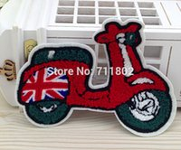 Cheap Red motorcycle sew-on plush patch overcoat patches kids embroidered accessory towel fabric wholesale 10pcs lot