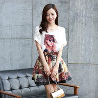 2015 New Korean Style Women's Retro Character Printed Fashion Outfit