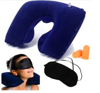 Wholesale Triratna travel outdoor inflatable pillow noise earplugs blindages