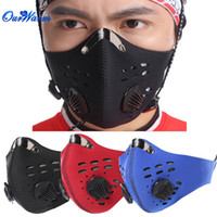 air pollution filters - Black Blue Red Cycling Mask Anti Pollution Anti fog Anti dust Filter Air Sports Bike Protective Half Face Mask Unisex