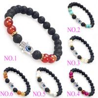 buddha beads - New Design Men s Woman s Beaded Jewelry p Natural Lava Stone Tieger Eye beads Silver Buddha Beaded Bracelets Charm Bracelet
