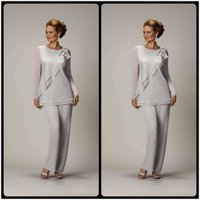 Wholesale Single Ladies Gowns - 2016 Silver Mother's Pants Suit For Mother of The Bride Groom Ladies Womens Cheap Custom Made Beaded Chiffon Wedding Party Gowns