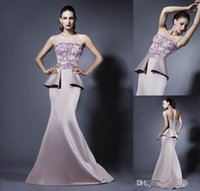 Cheap New Arrival Generous Evening Gowns Appliqued Strapless Mermaid With Peplum Sweep Train Stretch Satin Prom Dresses
