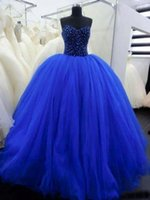 masquerade ball gowns - 2016 Blue Sweetheart Quinceanera Dresses With Pleat Cristal Beading Vestidos Quinceanera gowns Debutante Gowns Masquerade Ball