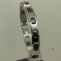 Wholesale 10mm women men hi tech scratch proof tungsten black ceramic middle link bracelet