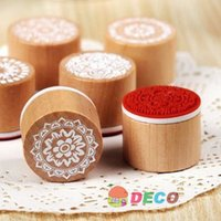 Wholesale New sweet lace series wood round stamp Gift stamps ss