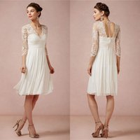Wholesale Cheap White Knee Length Dresses - 2016 Lace Wedding Dresses Pleated V Neck Cheap Chiffon Bridal Gowns With 3 4 Long Sleeves Knee Length A Line Wedding Dess