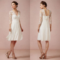 Wholesale 2016 Lace Wedding Dresses Pleated V Neck Cheap Chiffon Bridal Gowns With Long Sleeves Knee Length A Line Wedding Dess