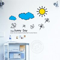 Wholesale Cartoon Sunny Hand painted Style Child Bedroom Wall Stickers Room Decoration New Hot Sell Creative Fashion Shipping From China