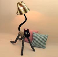 Wholesale Clown cat cloth floor lamps standing lamp creative cute children living room bedroom bedside lamp reading lamp nightlights