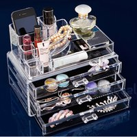 Wholesale luxurious Clear Acrylic Crystal Cosmetic Organizer Makeup Case Holder Storage Box drop shipping