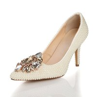 low heel wedding shoes ivory - Hot Selling Ivory Wedding Shoes Low Heel For Brides Bridal Heels Imitation Pearl Rhinestone Crystal Pointed Toe LSDN