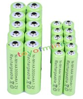 Wholesale 10x AA mAh x AAA mAh V NiMH Green Color Rechargeable Battery Cell A A