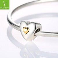 925 Sterling Silver 14K Gold Charm Cœur Perles Fit bracelet original Pendentifs bricolage Bijoux identiques Joyeux anniversaire