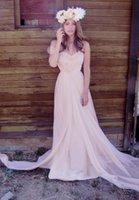 bella wedding dress - Bella Ivory Beach Chiffon Wedding Dresses Sweep Train Pleat Handmade Flowers Ruffles Back Zipper Bridal Dress Gowns Sleeveless Sexy Charming