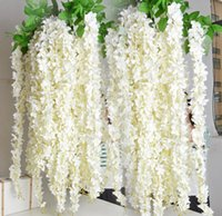 Wholesale 1 Meter Long Elegant Artificial Silk Flower Wisteria Vine Rattan For Wedding Centerpieces Decorations Bouquet Garland Home Ornament BSH1