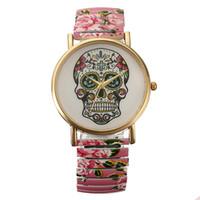 band sugar - New Fashion Women Sugar Skull Dial Trendy Elastic Strap Bracelet Quartz Wrist Watch Rubber Band Watches For Girl