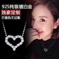 Wholesale S925 silver pendant necklace Heart shaped hollow diamond female short paragraph clavicle chain birthday gift Korean version