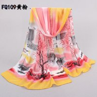 Wholesale Grace New Elegant Chiffon Scarves For Lady Spring and Autumn Thin Summer Sun Towel Fairy Silk Scarf Tree