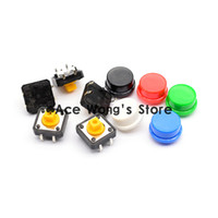 Cheap 100PCS Tactile Push Button Switch Momentary 12*12*7.3MM Micro switch button + (5 colors * 20pcs =100pcs Tact Cap)