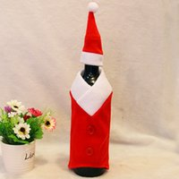 Wholesale Hot Father Christmas Santa Suit Wine Bottle Cover Hat Cap Xmas Holiday Table Decro