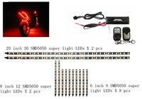 Wholesale 3 Sizes Double Bright RGB SMD5050 Led Strips Remote Controls Street Motorcycle Lighting Color Kit Extended Version98