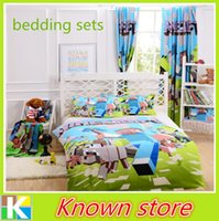 Wholesale Minecraft Pieces Bed In A Bag Bedding Set D Kids Bedding Set USA Suitable Size Twin Full Queen Size Curtian Cushion Fitted Sheet