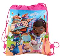Cheap Doctor Mcstuffins non-woven bag child birthday party on children's cartoon backpack pull take school children gifts beach bags