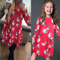 Wholesale Kids Children Girls Christmas Dress Long Sleeves Party Top Womens Red Santa Snowman Mini Flared Swing Dress XMAS Gift