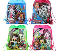 Wholesale 2015 fashion kid favorite Monsters High carttoon mix Hans non woven string backpack pouch for kids children s gift school bag