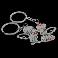 Wholesale New Arrival Pair Angel Wing Bride Groom Heart Love Keychain Couple Lover Gift Key Ring Fob RT2