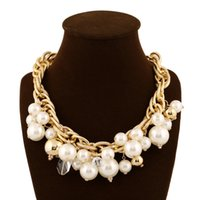 chunky jewelry - 2015 Fashion Handmade Statement Bib Alloy Collar chunky Crystal Necklace Pearl Choker Jewelry For Women