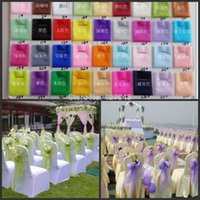 Wholesale Wholesalle Wedding Party Banquet Decorations Simple Bow Organza Chair Sashes for Chair Covers Gauze Wedding Supplies