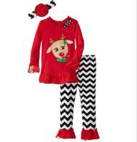 american primer - Christmas striped horn sleeve dress years old newborn cartoon Santa Claus Clothing Sets T shirt primer bell bottoms set B20
